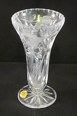"Echt Bleikristall Crystal Glass Vase Etched Frosted Roses 6"" Tall"