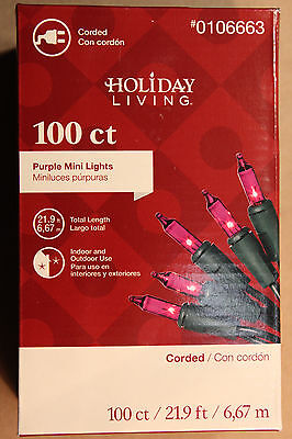 100  COUNT PURPLE CHRISTMAS / WEDDING / EASTER LIGHTS  on Green - 100 Purple Lights Green Wire