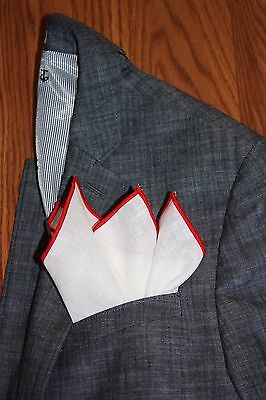 NEW-100% White Linen Pocket Square with Red Trim