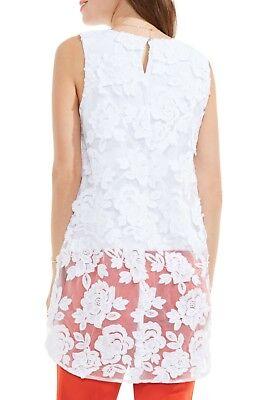 NWT Vince Camuto Floral Mesh Blouse Sleeveless Elliptical Hem White Large L
