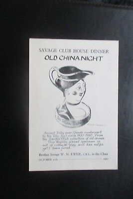 1960 THE SAVAGE CLUB  ILLUSTRATED DINNER CARD  OLD CHINA NIGHT
