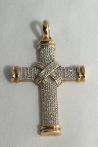 9k Yellow Gold Diamond Cross - cm 162345