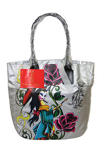 Christian Audigier Shoulder Bag Tote Silver Geisha ( Ed Hardy) Original