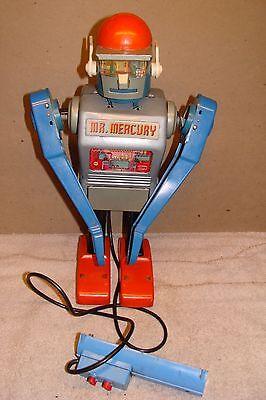 LRG ANTIQUE MARX BLUE ROBOT Mr. MERCURY 1960's JAPAN YONEZAWA VINTAGE OLD TIN