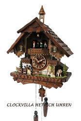 cuckoo clock black forest quartz german music quarz chalet farmer sheep new