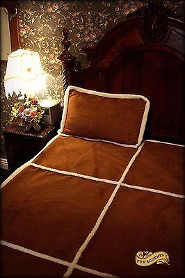 Sheepskin Faux Fur Bedspread Ultra Suede Throw Blanket Queen