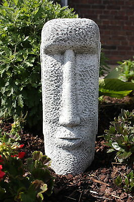 Steinfigur Osterinsel Gesicht 2 Frostfest Garten Deko Steinguss