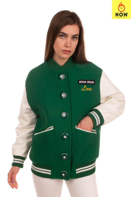 RRP €2715 MIU MIU Wool Varsity Jacket Size 36 / XS Leather Sleeve Made in Italy