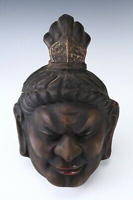 Old Vintage Plaster Buddhism Mask Plaque -Nio- Early Showa Product