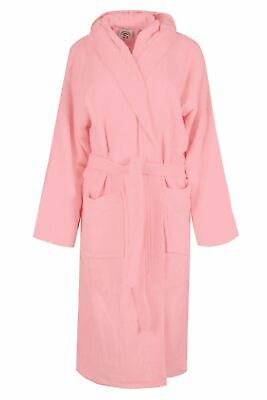 Pink Luxury Hooded Bath Robe Women 100% Terry Cotton Toweling Dressing Gown - 100 Cotton Terry Cotton