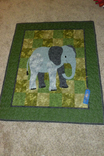 """HANDMADE AND MACHINE QUILTED WALL HANGING """"HUMPREY"""" ELEPHANT"""