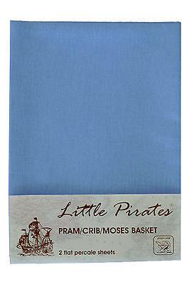 2 x Baby Pram/Crib/ Moses Basket  Flat Sheet 100% Cotton Blue