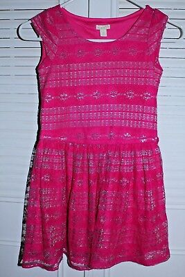 Euc The Childrens Place Cap Sleeve Overlay Dress In Pink Silver Sz 7 8