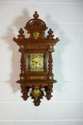 Antique German Wall Clock Oak Wood Regulator Junghans Movement