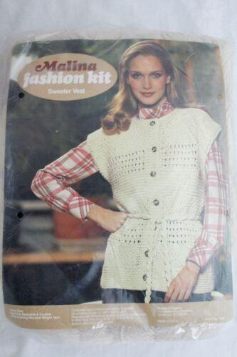 Vintage Malina Fashion Kit Cream Sweater Vest Knitting Yarn Pattern Instructions