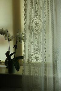 Cherubs Angels white Cotton Lace panel Victorian design readymade 52