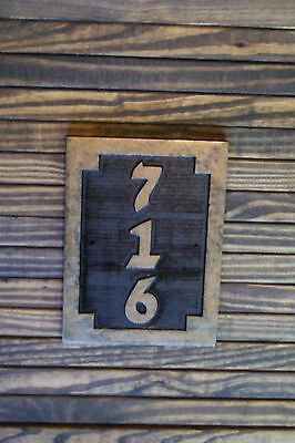 Custom Carved Sign Address Plaque Wood, Hand Painted Brass (Hand Painted Outdoor Finishes)