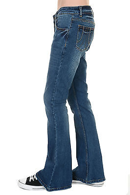 Mens Run & Fly 70s Retro Distress Vintage Stretch Denim Bell Bottom Flares