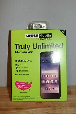 New Unopened Simple Mobile LG Rebel 4 4G LTE Prepaid Cell Phone L211BL