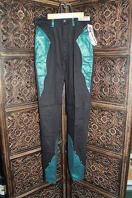 Western Ethics Ladies Black/Teal Stretch Denim Jeans W/ Silver Stud Accents SZ - Ladies Western Jeans