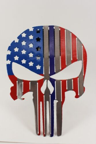 Punisher flag trailer hitch cover USA with a blue line