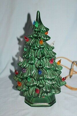 "Vintage Holland Mold Ceramic Light Up Christmas Tree - 2 Piece 12"" Tall"