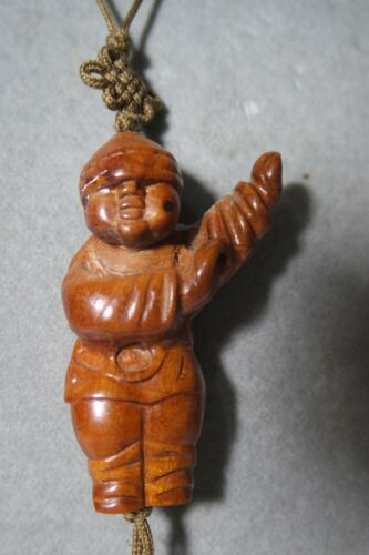 Antique/Vintage  Chinese Huanghuali ? Wood Carved Figure  Pendant Silk Cord