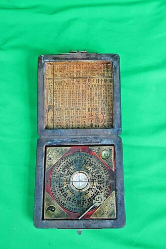 ANTIQUE BAGUA COMPASS BRASS Chinese Feng-Shui Luo Pan Chinese Ying-Yang Luck