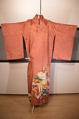 Antiker japanischer Kimono aus Rinzu-Seide, kupferfarben