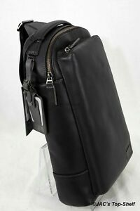 Tumi New Harrison Emerson Black Leather Shoulder Sling/Backpack 63010D