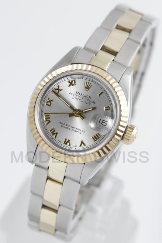Rolex Ladies Datejust Gold & Steel Silver Roman Fluted Oyster Perpetual Two Tone