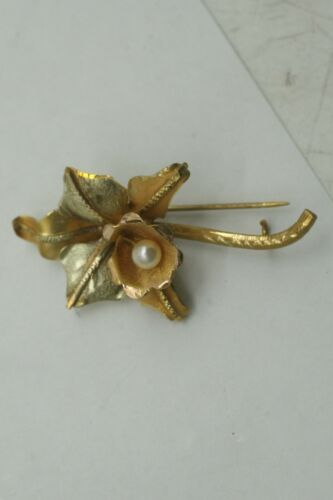 ELEGANT CUSTOM MADE VICTORIAN 18 KARAT .750 YELLOW GOLD ORCHID PEARL PIN BROOCH