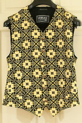 Epic *VERSACE*  V2 Barocco Baroque Gold Floral Print Rayon Vest ITALY L 42