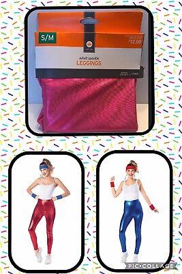 Halloween Costume Blue Leggings (NWT Women's ADULT Pink Red Blue Shiny LEGGINGS HALLOWEEN COSTUME  S/M L/XL)