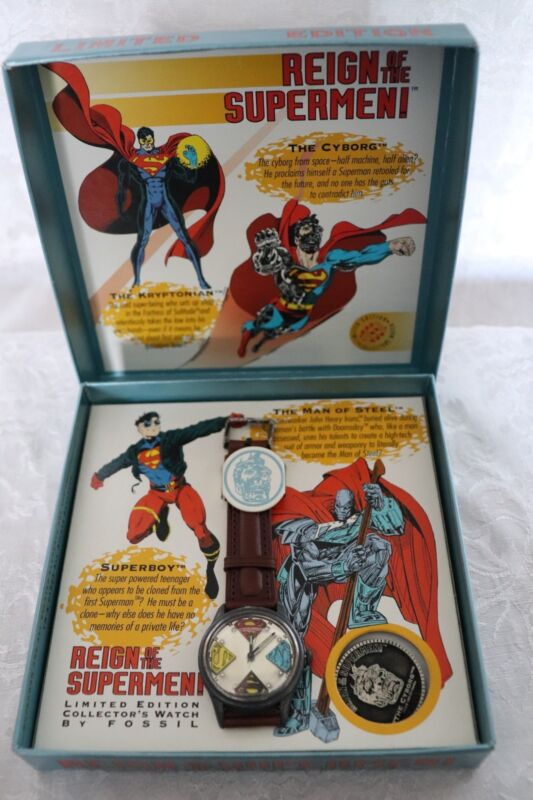 Fossil Reign Of The Supermen Watch and Krytonian Coin Set NIB