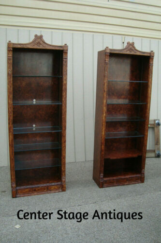 60659 Pair Decorator FAUX PAINT  Bookcase Curio Cabinets