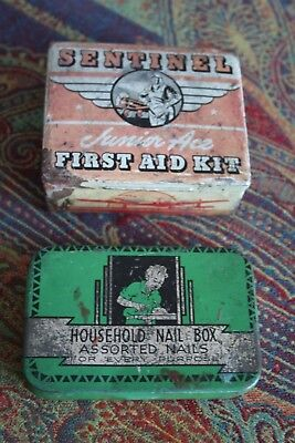 VINTAGE TIN BOXES - *SENTINEL JUNIOR ACE* FIRST AID KIT & NAIL BOX for sale  Helena