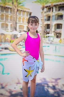 Girls Swimsuit Bathing  Suit Cover Up Sarong Cotton Starfish Sizes Fits 4 to 7