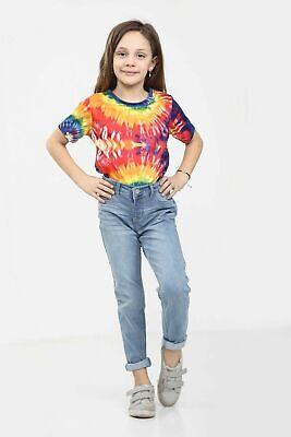 Kids Childrens Tie Dye T Shirt Top Tee Tye Die Music Festival Hipster Girls Top