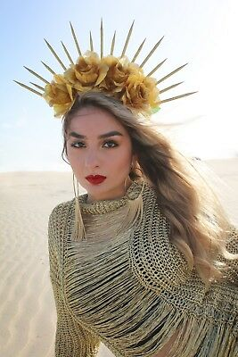 Headband Halloween Costume (Spike Headpiece Virgin Mary Crown Headband Halloween Costume Met Gala Madonna )