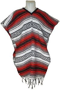 Traditional mexican poncho red one size fits all blanket serape