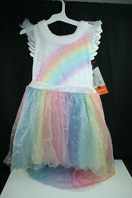 Girls Unicorn Rainbow Dress Up Halloween Costume Dress Size L_US STOCK