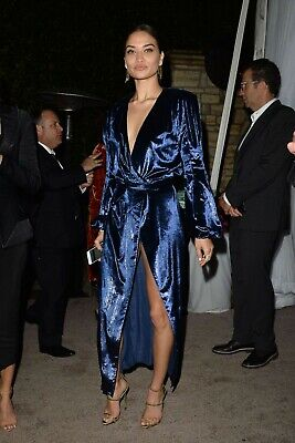 $470 Maria Lucia Hohan Blue Velvet Assia Dress