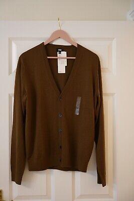 Uniqlo Brown 100% Merino Wool Cardigan Men Medium Brand New