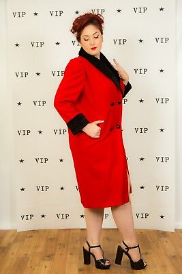 vintage red & black single breasted Faux persian lamb collar coat Russell Scott