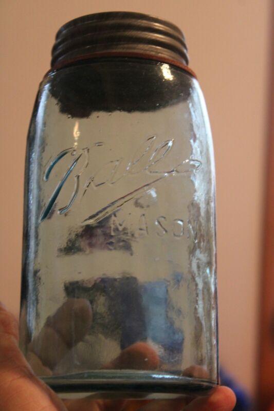 Antique 1qt Bright Blue, Ball Triple L, Mason Jar, EXTREME TEXTURE, Item #A-1376