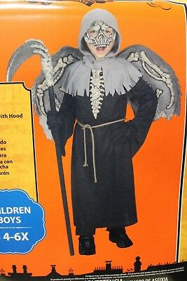 MESSENGER OF DEATH BOYS COSTUME Small 4-6X Grim Reaper Halloween Angel Wings NEW - Winged Reaper Halloween Costume