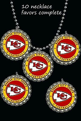 Party City Favors (Kansas City Chiefs Bottle Cap Necklaces party favors lot of 10 necklace)