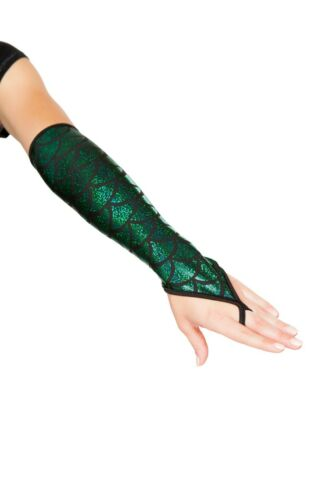 NEW sexy ROMA fingerless MID-ARM length MERMAID scales FINGER loop GLOVES dancer