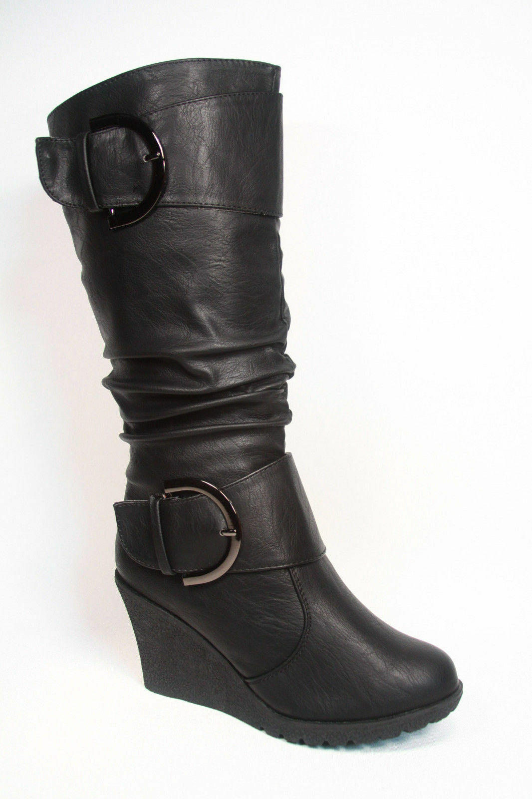 Women's Cute Round Toe Slouch Buckle Wedge Mid Calf  Boot Shoes Size 5 -11 NEW